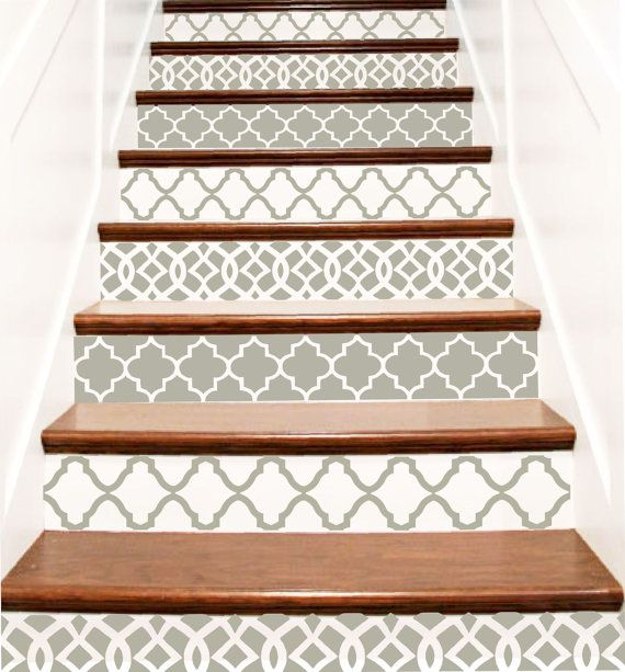 Decorative Vinyl Stair Decals . Trellis Decor Steps Riser Stickers . Your Choice of Color and Quantity