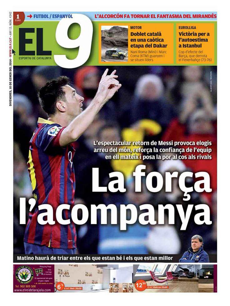#Portada El9 viernes 10 de enero 2014 #FCBarcelona #Barça #Barcelona #igersFCB #Messi