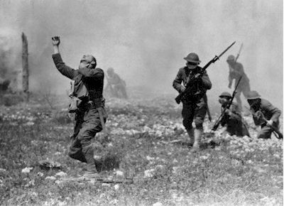 A poison gas attack, in World War I.  My grandfather could have been one of these soldiers