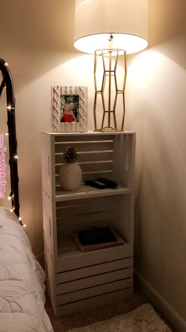 Diy Wooden Crate Nightstand Crate Furniture Diy Home Decor Diy Furniture Projects