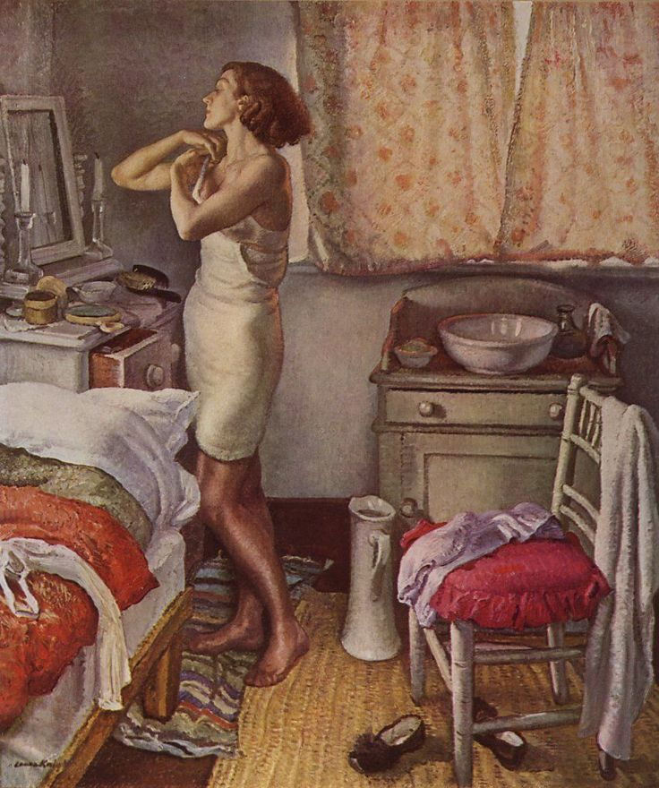 The Bedroom, by Dame Laura Knight (English, 1877-1970). This superb study was first exhibited in 1931 at the Royal Academy and is 'an admirable example not only of the artist's power in presenting the human figure, but also her ability to invest the ordinary events of life with the glamour of romance and beauty.'