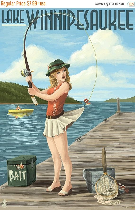 15% OFF SALE Lake Winnipesaukee, New Hampshire - Pinup Girl Fishing (Art Prints available in multiple sizes)