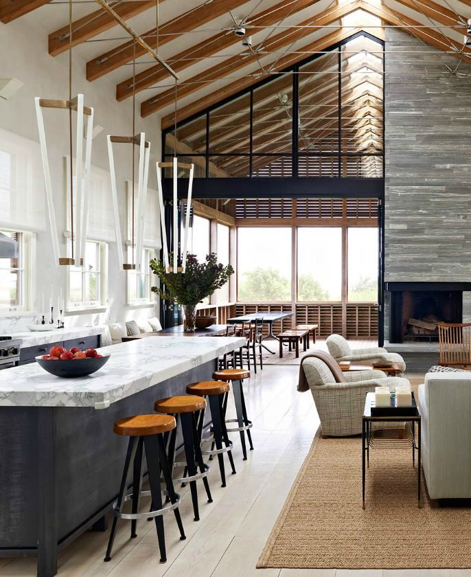 Amazing open space and stone used on the counters and fireplace. Lucas Allen photo