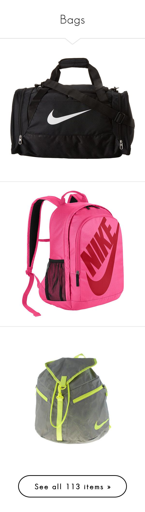 """""""Bags"""" by kelseys2 ❤ liked on Polyvore featuring bags, luggage, sport, nike, accessories, backpacks, pink, pink backpack, day pack backpack and padded backpack"""