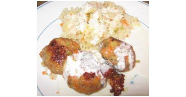 Boulettes viande; légumes;chèvre;riz aux petits légumes et sauce aux 3 fromages