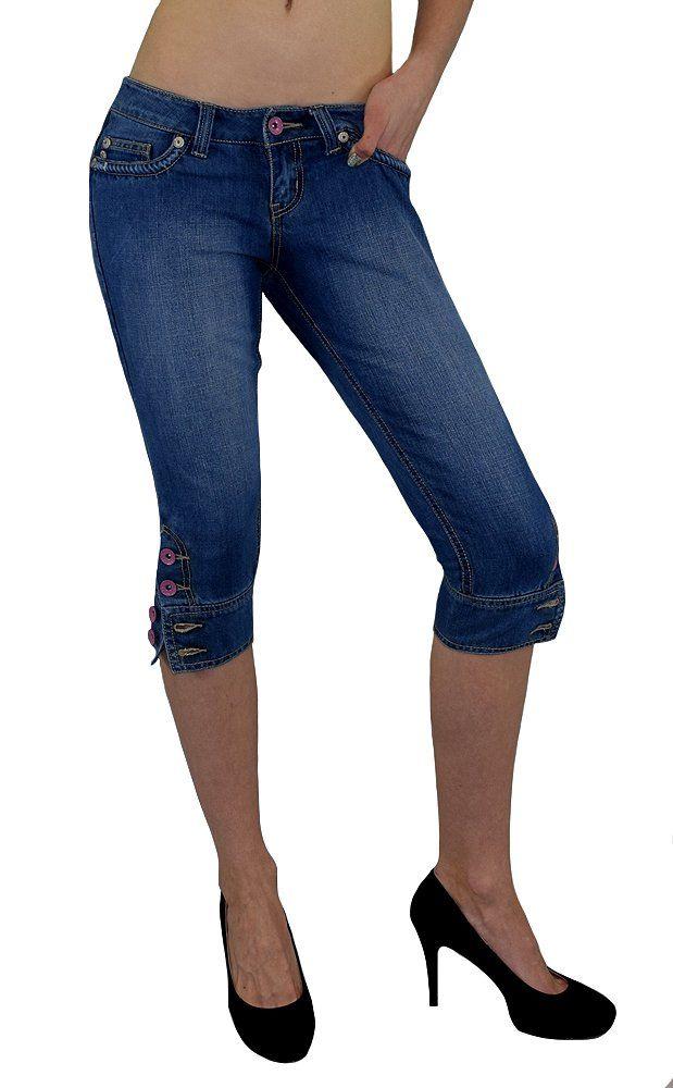 S&LU Damen Bermuda-Jeans/ 3/4 Capri mit einem 3D Tribel Druck Jeansblau 38