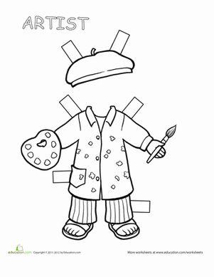 Second Grade Paper Dolls Worksheets: Artist Paper Doll