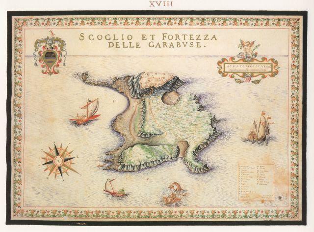 Η νήσος Γραμβούσα με το ομώνυμο οχυρό. ....1618 - 1638.