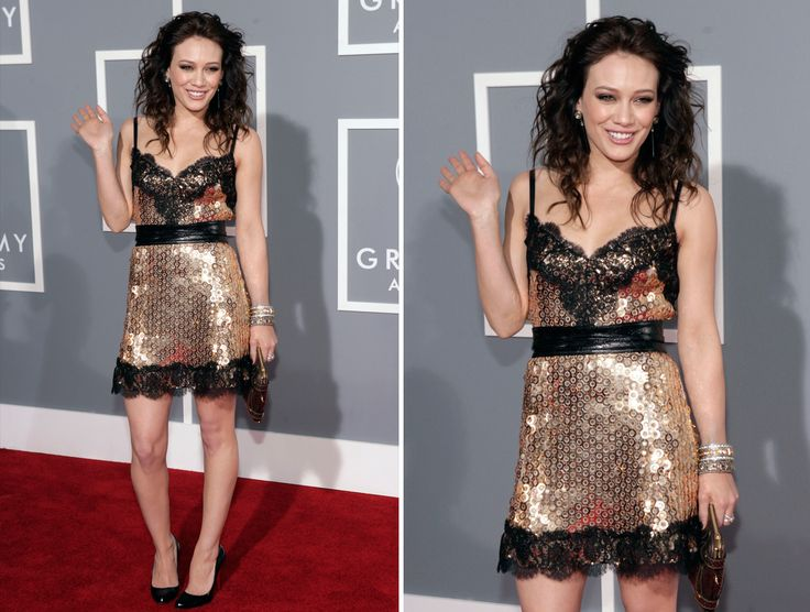WORST EVER GRAMMY FASHION DISASTERS §§ HILLARY DUFF The shimmery dress with lace highlights and disheveled hair at the 2007 Grammy's wasn't the best look of Duff. © Matt Sayles/AP Photo