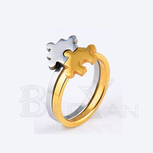 pareja anillo conjunto de dos piezas dorado y plateado en acero