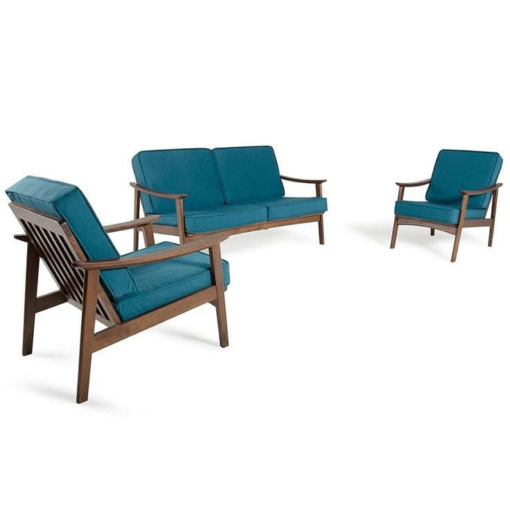 Ashworth Contemporary Designed Blue Loveseat and Chair Set