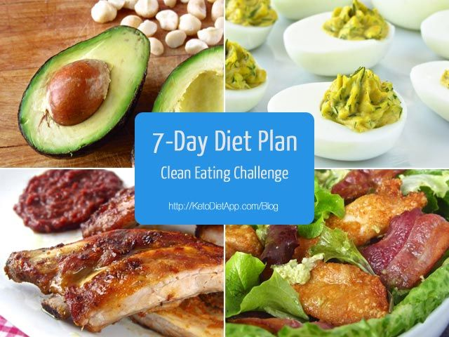 The KetoDiet Blog | 7-Day Diet Plan (Clean Eating Challenge) - 7 day menu/meal suggestions with shopping list, Low-carb Snacks and Extras, Tips