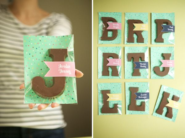 Chocolate Letter Placecards | Oh Happy Day!