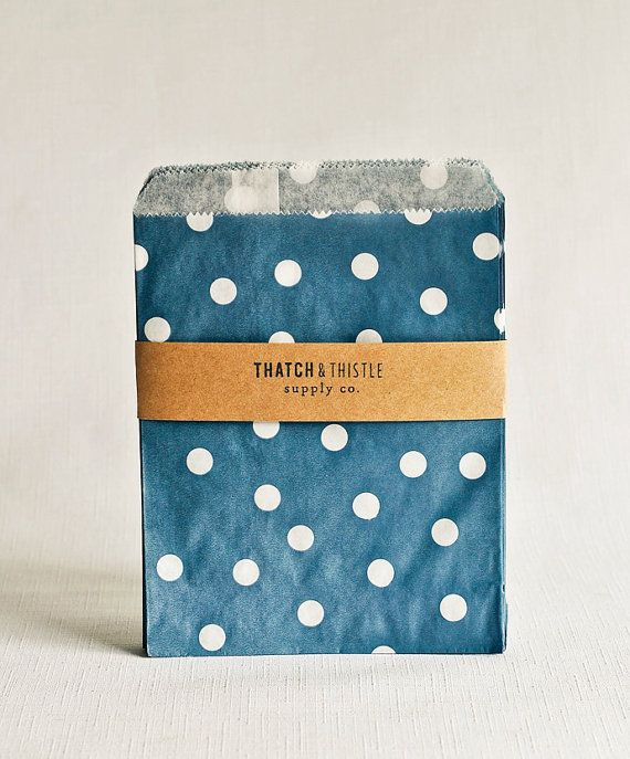 Navy Blue Polka Dot Paper Bags