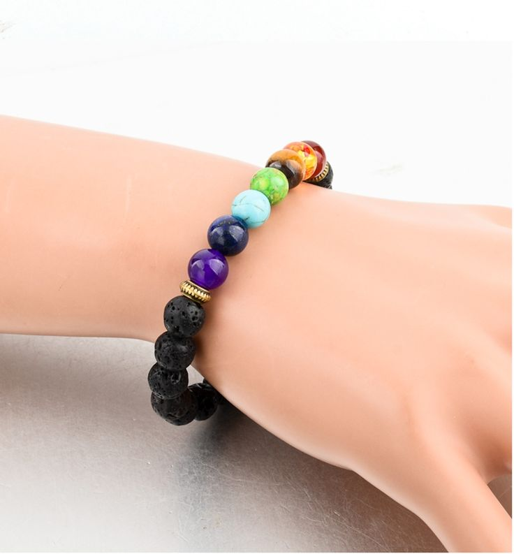 Healing 7 Chakras Volcanic Stone Energy Bracelet | Wrapped Direct