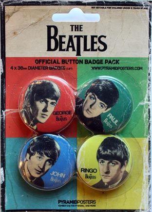 vintage beatles paraphernalia   The Beatles Official Metal Pin Badges In Stock
