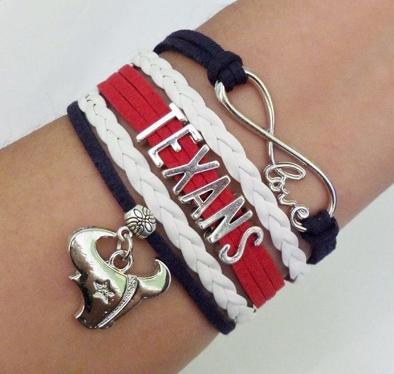 HOUSTON TEXANS Football Bracelet, Texans Cheerleader Bracelet, cheer bracelet, Team gifts, Team sports, Blue navy/white/red color,