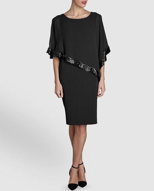 Vestido de fiesta de mujer Gina Bacconi en negro con lentejuelas