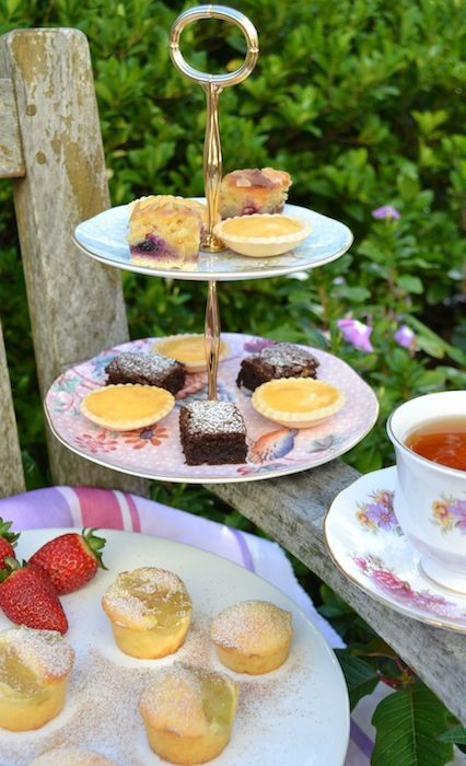 gluten free treats for a Mother's Day afternoon tea: mini apple tea cakes, brownies, lemon curd tartlets and bakewell tart  #glutenfree #gfrecipes