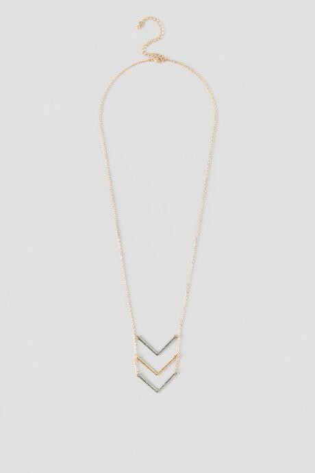 Ali Triple Chevron Pendant Necklace