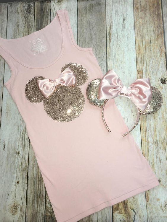 This gorgeous rose gold Minnie Mouse inspired silhouette is sewn and appliqued o... 1
