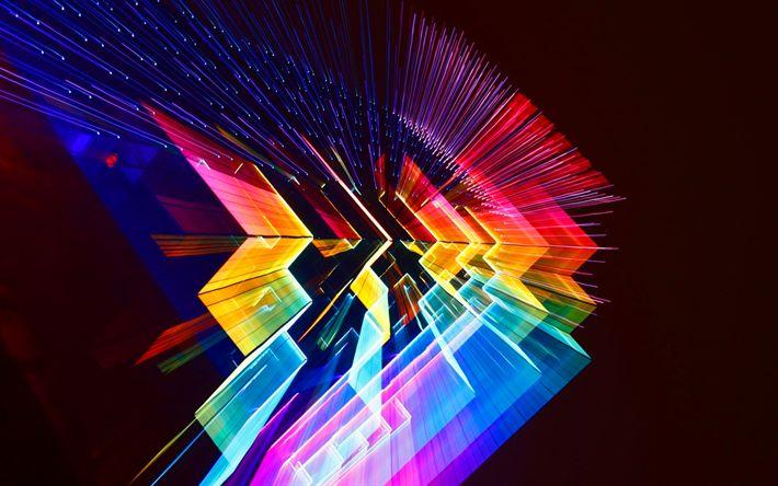 Hämta bilder 4k, rainbow, linjer, kreativa, digital konst