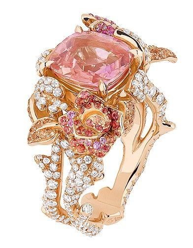 """Ring """"Precious Rose"""" pink gold, diamonds, pink sapphire and multicolored sapphires. Dior Jewelry, price on request."""