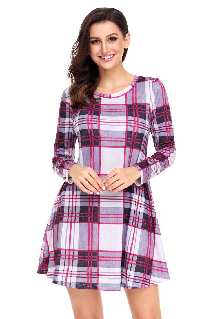 Long Sleeve Preppy Plaid Mini Dress modeshe.com