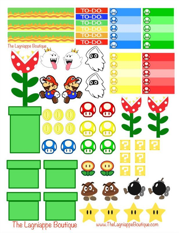 My second week of planner stickers are themed from Nintendo\u0027s Mario