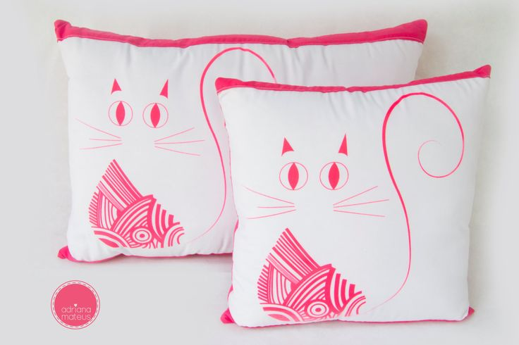 Pillows cat decorative, pink and white by ADRIANAMATEUS on Etsy