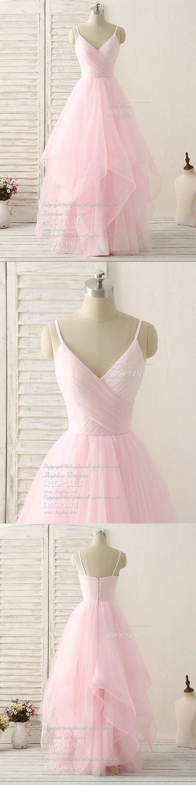 Pink v neck tulle long prom dress simple pink tulle evening dress, pink bridesmaid dress