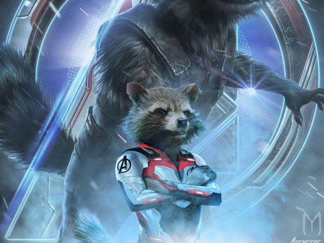 Download 1440x2560 Avengers Endgame Rocket Raccoon Poster Art