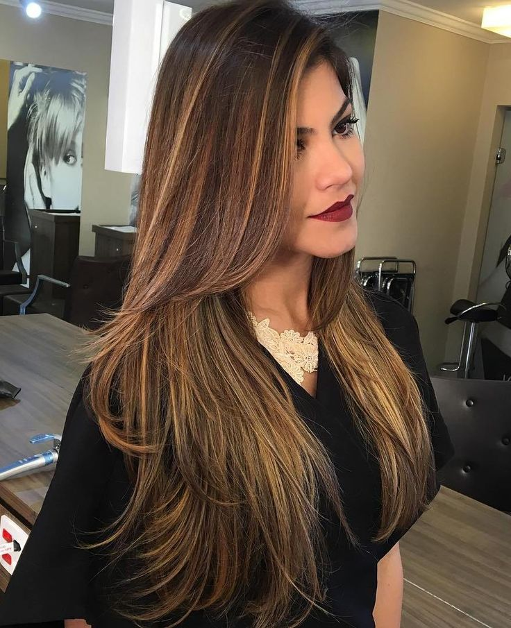 Long+Brown+Hair+With+Layers+And+Thin+Highlights