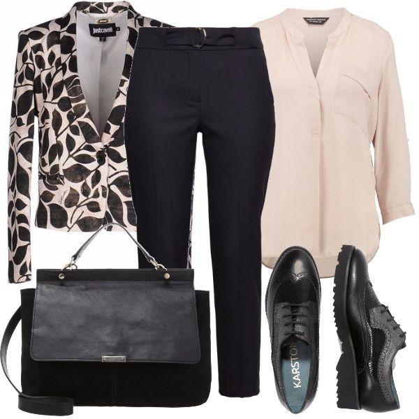 Look+adatto+al+lavoro,+per+l'università+o+per+serate+alternative+in+stile+mannish,+uno+stile+prettamente+maschile+molto+di+tendenza+oggigiorno,+scopriamolo:+blazer+in+fantasia+sui+toni+del+nero+e+del+beige,+ho+inserito+la+camicia+rosa+carne,+un+pantalone+dritto+nero,+delle+stringate+e+borsa+media+a+mano.