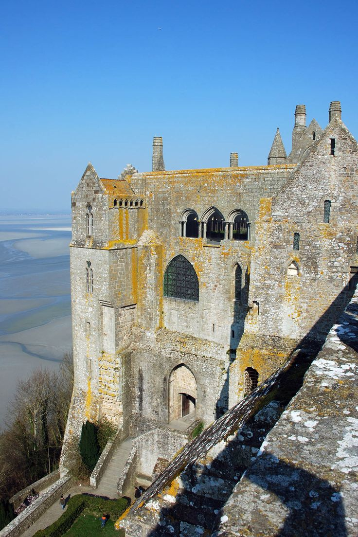 Abbaye du Mont-Saint-Michel (709). Roman et Gothique. Mont-Saint-Michel, Normandie, France.