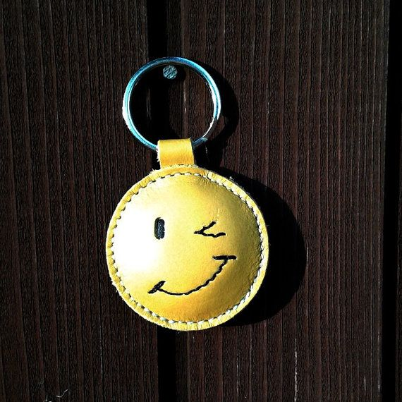 Wink Smiley   Happy Face  Emoticon Yellow Leather Keychain by snis