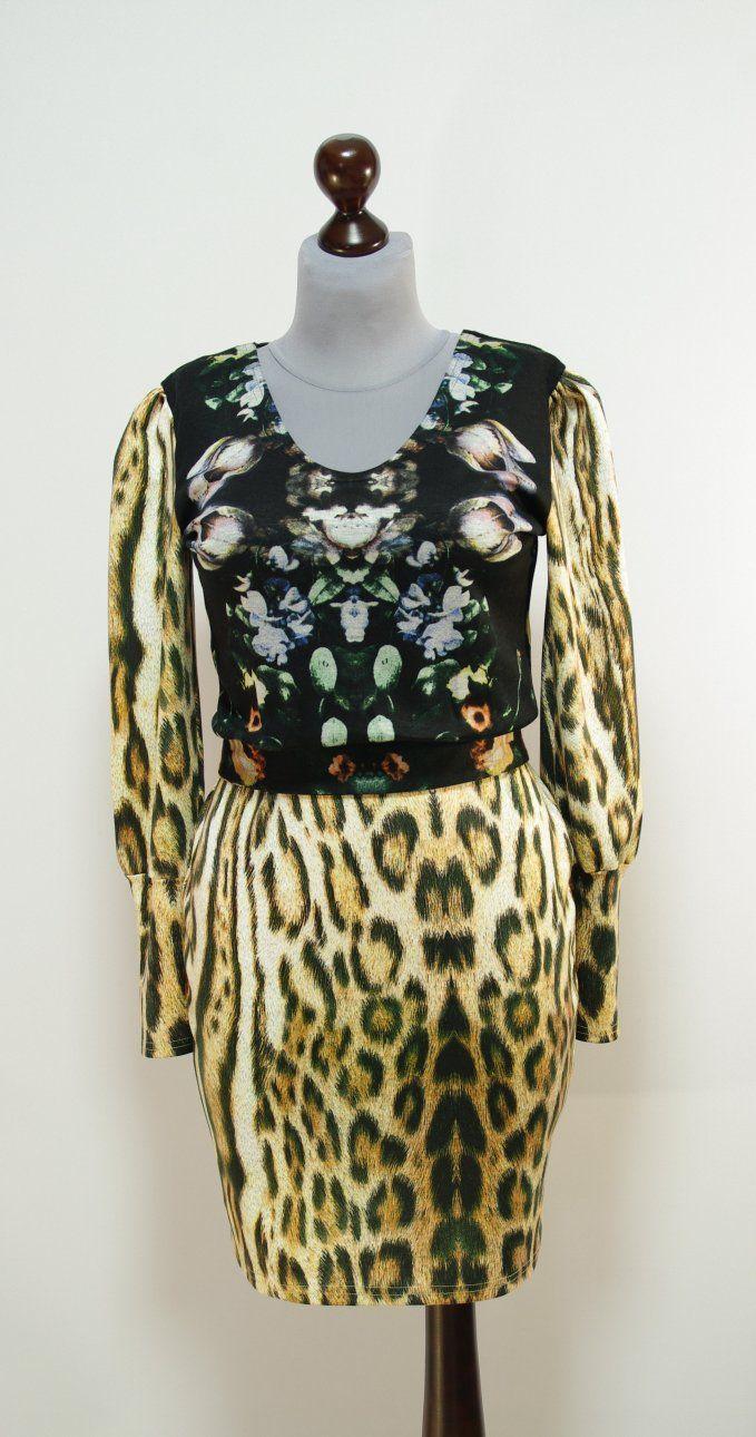 Платье с леопардовым принтом и черной цветочной вставкой | Платье-терапия от Юлии