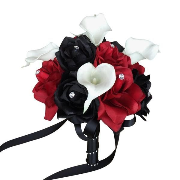 """8"""" Gothic Dark Wedding Bouquet Apple Red Black Rose and White Calla Lily While others walk down the aisle carrying white pink, lavender, mauve or bright yello"""