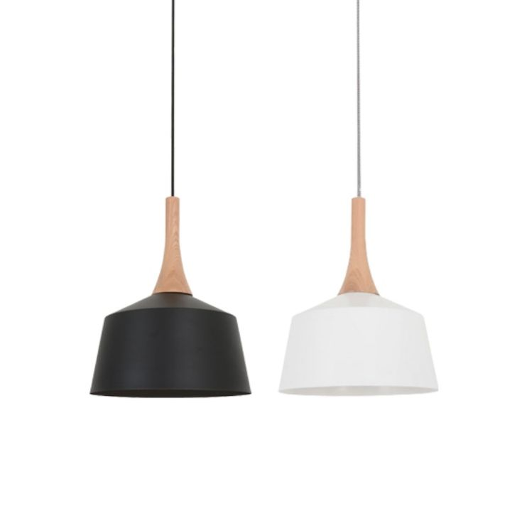 Nordic+Metal+Pendant+Light+Oak+with+White+or+Black+-+Small