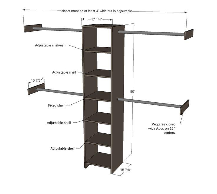 Ana white build a closet organizer from one sheet of for Simple closet shelves