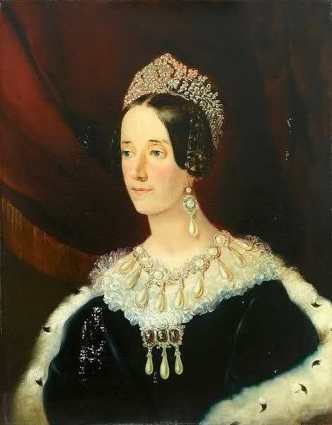 Josephine de Leuchtenberg (1807-1876), regina di Svezia, moglie di Oscar I.  Il ritratto mostra l'opulenza dei suoi gioielli. Il diadema indossato somiglia alla tiara Braganza.