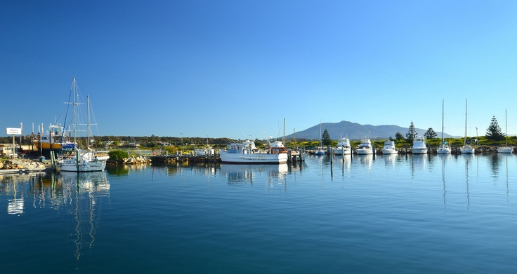 Beautiful Bermagui Harbour and view to 'Gulaga' photographed by Chilby Photography