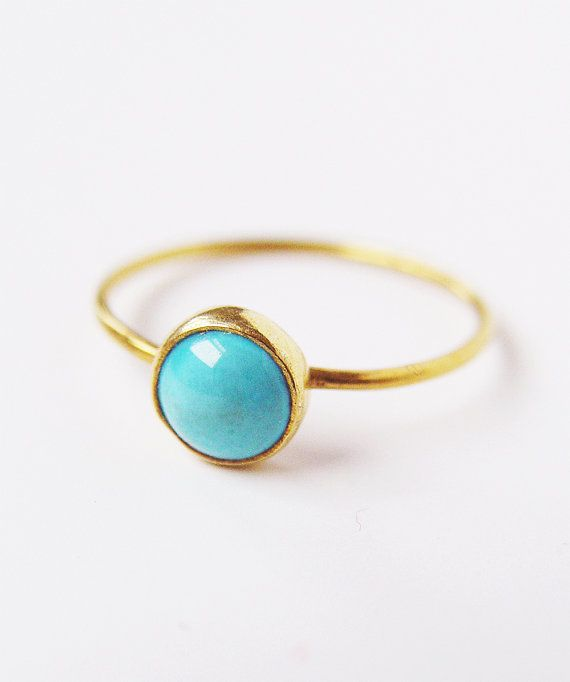 SALE Turquoise Round Gold Ring by friedasophie on Etsy
