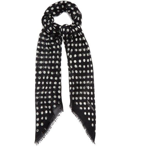 Saint Laurent Polka-dot print cashmere-blend scarf (£405) ❤ liked on Polyvore featuring accessories, scarves, black white, wrap shawl, black and white polka dot scarves, wrap scarves, black and white shawl and black and white scarves