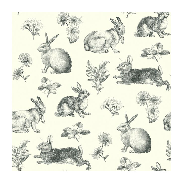 York Wallcoverings Ashford Toiles Bunny Toile Prepasted Wallpaper
