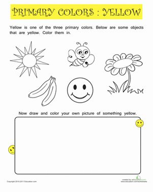 Primary colors, Worksheets and Color yellow on Pinterest