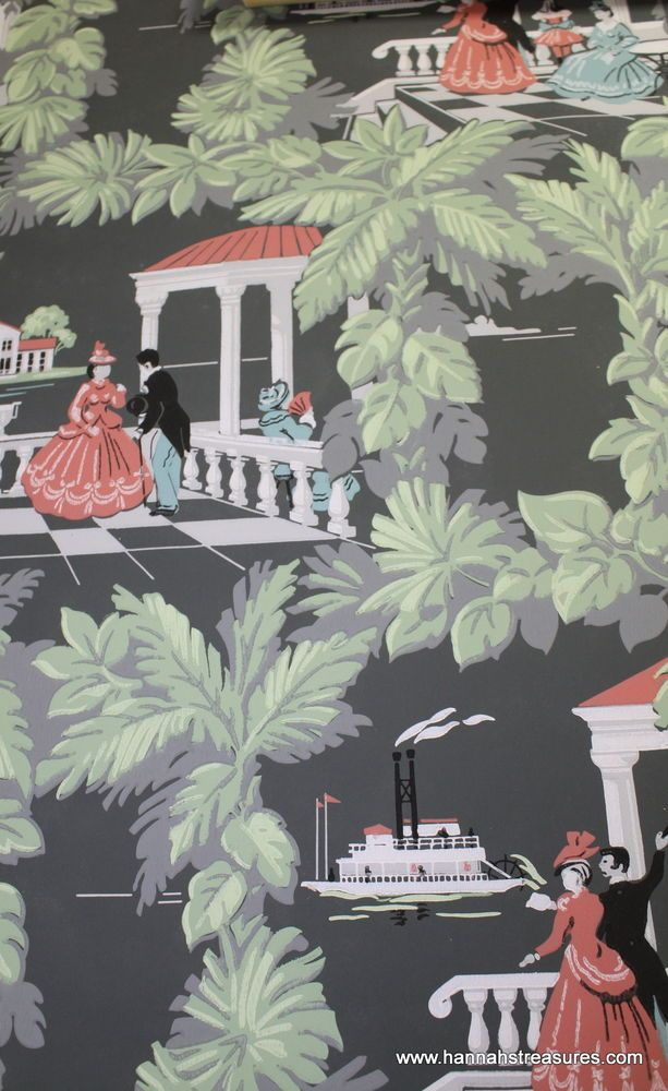 1940's Vintage Wallpaper black background Southern River Scenic