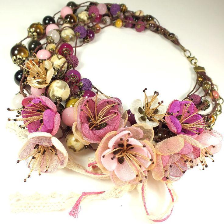 Купить Тени Сливового Сада. Колье, съёмный цветочный декор - разноцветный, розовый, ягодный, сливовый
