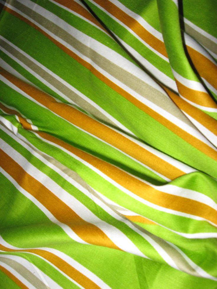 Mod retro stripe fabric green gold grey white by bettiecouture, $10.00