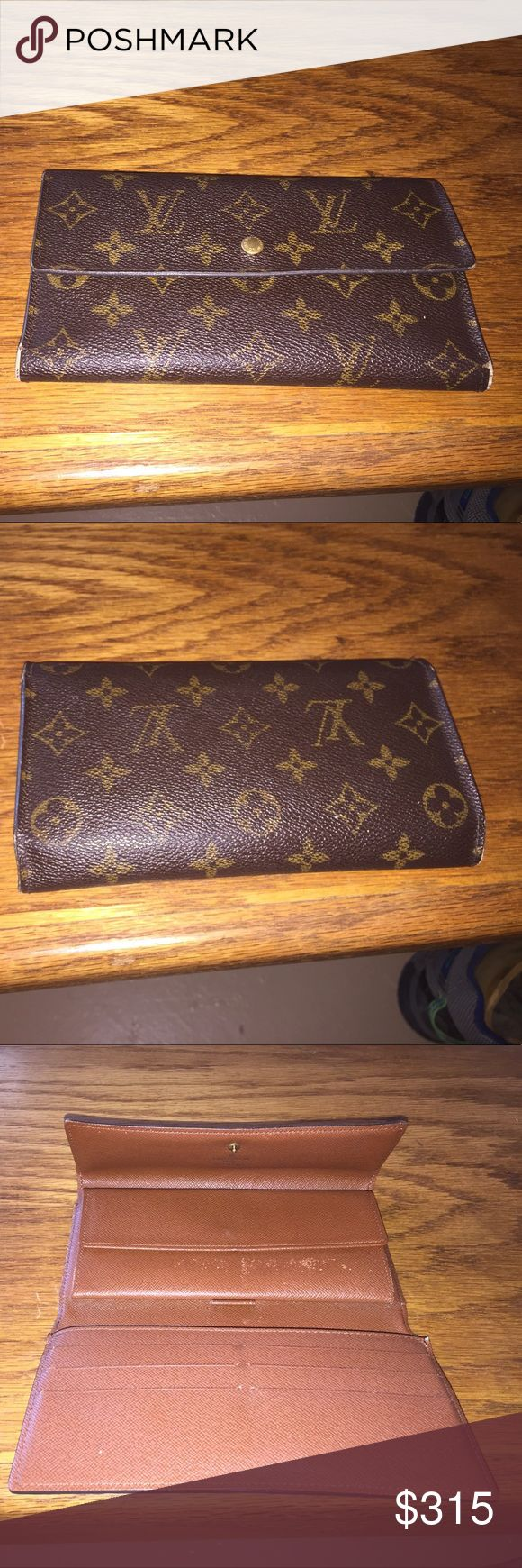 Authentic Louis Vuitton wallet Price dropped ♨️😃😃Authentic Louis Vuitton long Wallet sighns of wear throughout minor tears at 2 corners overall good condition 2 snap compartments credit cards checkbook and cash compartments Louis Vuitton Bags Wallets
